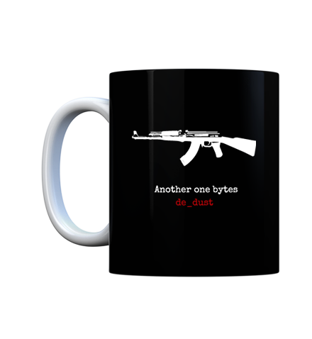 Your favorite weapon ak 47, with your favorite map de_dust 2, need more reason to sip from this counter strike coffee mug? Well how about watching the world around you bite de_dust as you bask in your geek glory.