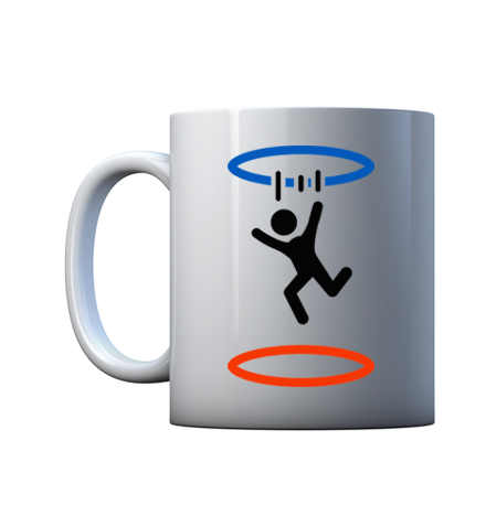 Take a sip from this portal gaming coffee mug before you go out for your routine tests. Cake and grief counseling will be available at the conclusion of the test - GLaDOS.